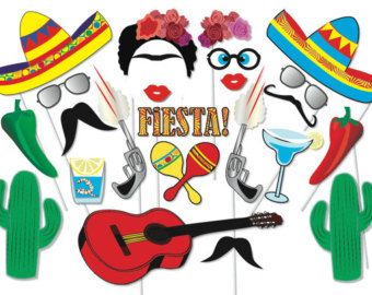 Mexican Fiesta photo booth props Mexican fiesta by PaperArtbyMC