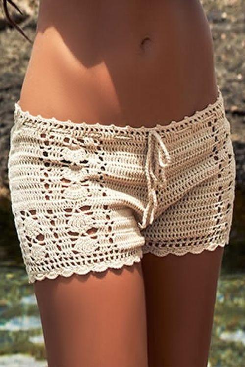 Solid Color Crochet Shorts