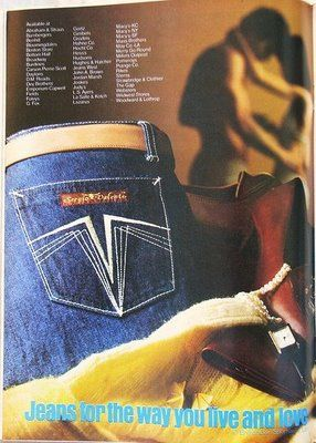 Sergio Valente jeans - always check the pocket....it was those, Jordash, Sasoons or Gloria Vanderbilts. Anything else, you were WAY outta style!!
