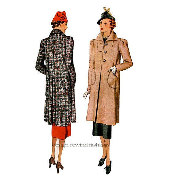 MODÈLES de manteau des années 1930 30 s Swagger manteaux manteau voiture jour…