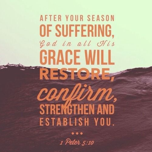 Comforting Scripture Verses | After your season of suffering, God in all his grace will restore, confirm, strengthen and establish you. - I Peter 5:10 Bible verse quotes
