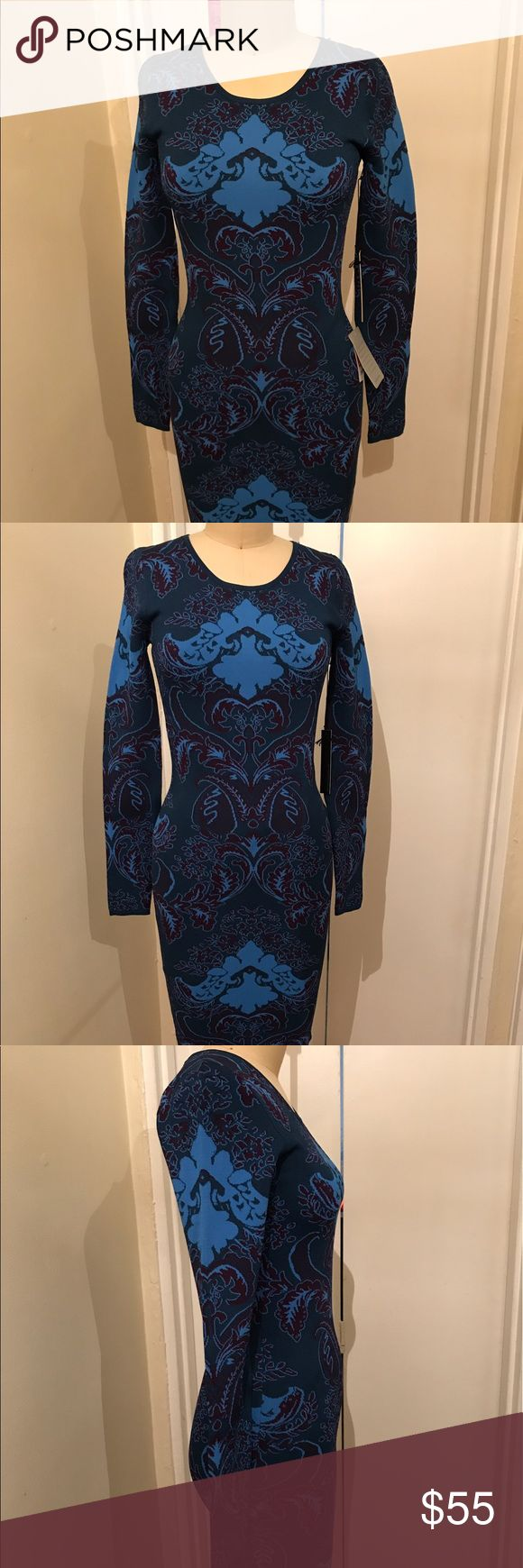 New - Blue Jacquard Pattern Bodycon Dress New - Blue Jacquard Pattern Bodycon Dress Sold by Nordstrom. Fabric has tones of Blue, Light Blue. The mannequin is a size 2 for reference Nordstrom Dresses