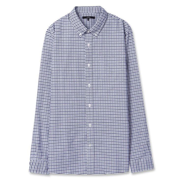 Topten10 Unisex Modern Blue Checks Formal Oxford Buttondown Cotton Dress Shirts #Topten10