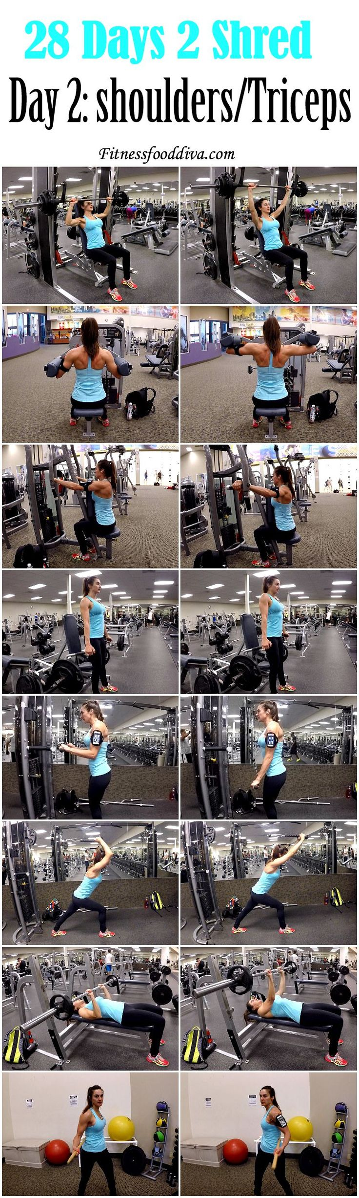 DAY 2: SHOULDER/TRICEPS  6/7-both of us; me- single and double leg quads, single and double hamstring, abd/add, leg press, calves, hamstring curls