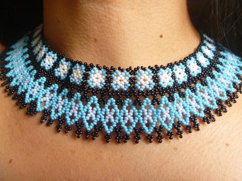 HUICHOL CHOKER NECKLACE BLUE MEXICAN WIXARIKA FOLK AT   eBay