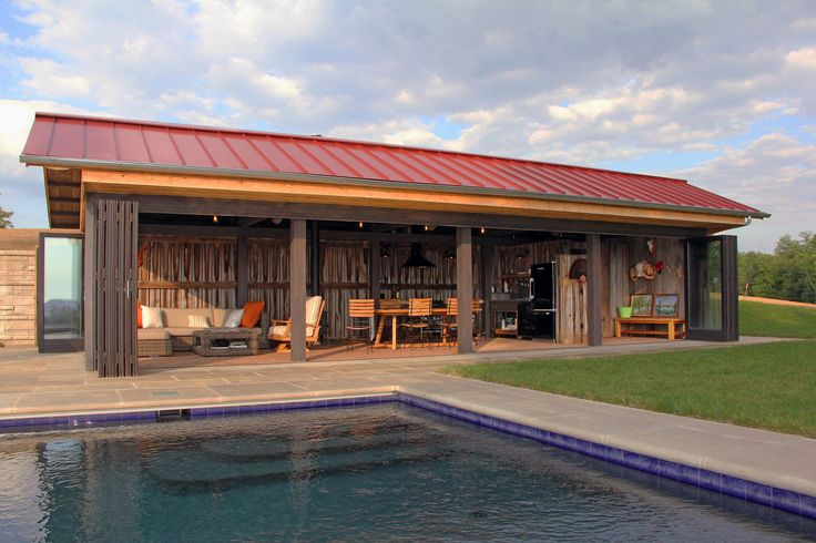 Pool House Design Of A Pool House On A Hilltop Site Overlooking The Ohio  River In Westport, Kentucky. Reclaimed Barn Boards Are Used Extensively Inu2026