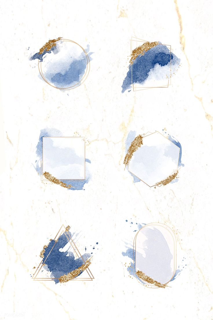 Gold frames on blue watercolor background vector
