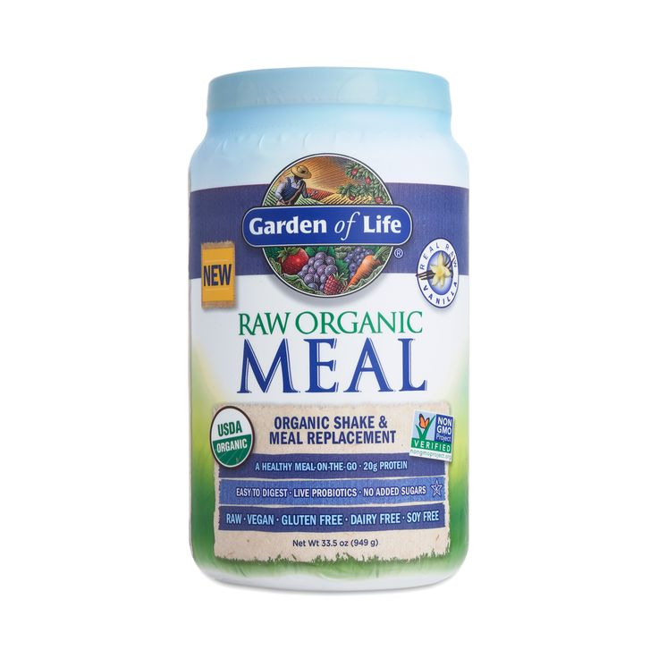 Add protein and fiber to your diet with Garden of Life's Vanilla Raw Organic Meal Replacement Shake, designed as an occasional supplement to your meals.