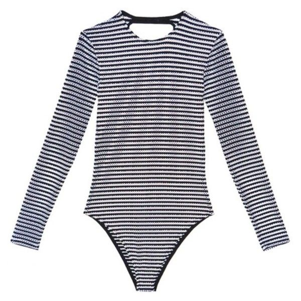 Fleur du Mal Long Sleeve One Piece Swimsuit ($265) ❤ liked on Polyvore featuring swimwear, one-piece swimsuits, beachwear, one-piece, striped one piece swimsuit, black and white striped one piece swimsuit, black and white striped swimsuit, one piece swimsuit and one piece bathing suits