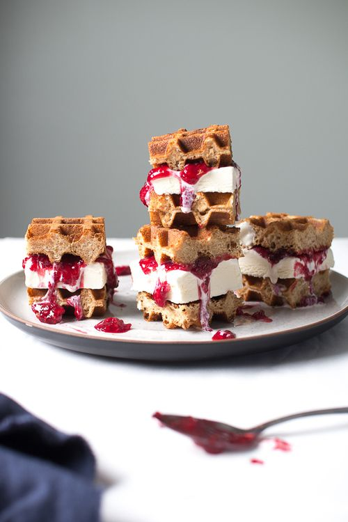 Mini Ice Cream Waffle Sandwiches  http://www.flourishingfoodie.com/2014/05/mini-ice-cream-waffle-sandwiches.html