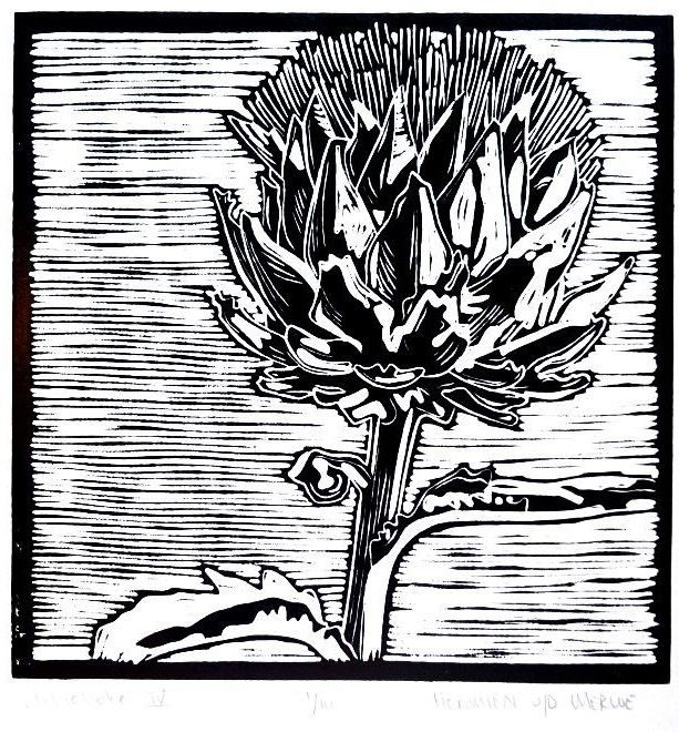 Artichoke Linotype IV: An artichoke is a beautiful plant and wholesome food. To get to the centre of the vegetable, the heart, all the outer leaves need to be torn away: Take away the useless parts.  This lets me think about a purifying process - to take away things that are unnecessary. God looks at our hearts.