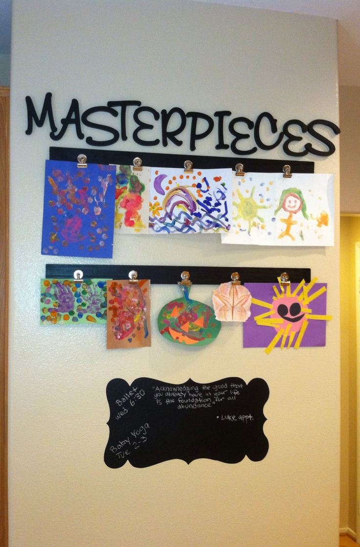 Twist on Masterpieces display for kids artwork. Use wooden letters from craft store instead of stickers.