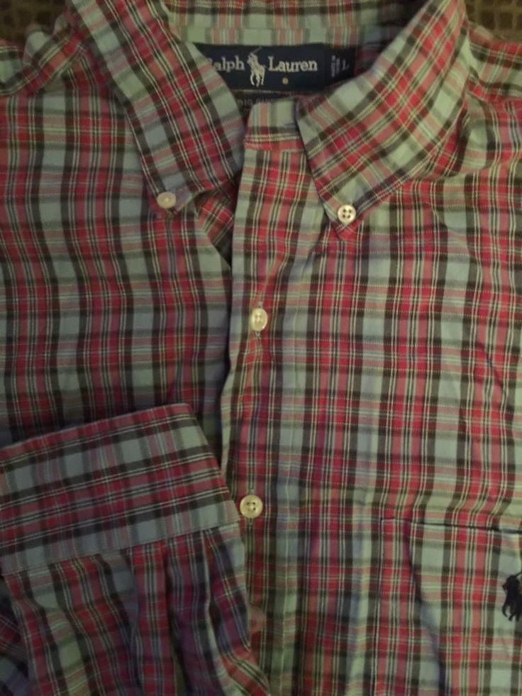 Men RALPH LAUREN Big Shirt Large Gray Red Plaid Shirt L/S Polo #RalphLauren #ButtonFront