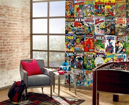 comic book wall mural for $155....I can do this myself with spare comics of the Hub's. Looks like I have an idea for the guest bedroom :)