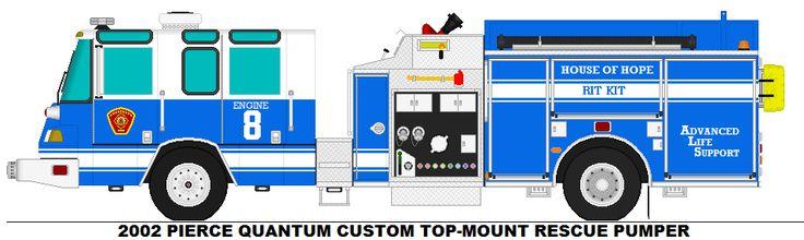 2002 PIERCE QUANTUM CUSTOM TOP-MOUNT RESCUE PUMPER CLINTON COUNTY FD E-8