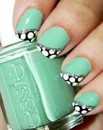 .mint and tapered dots nails