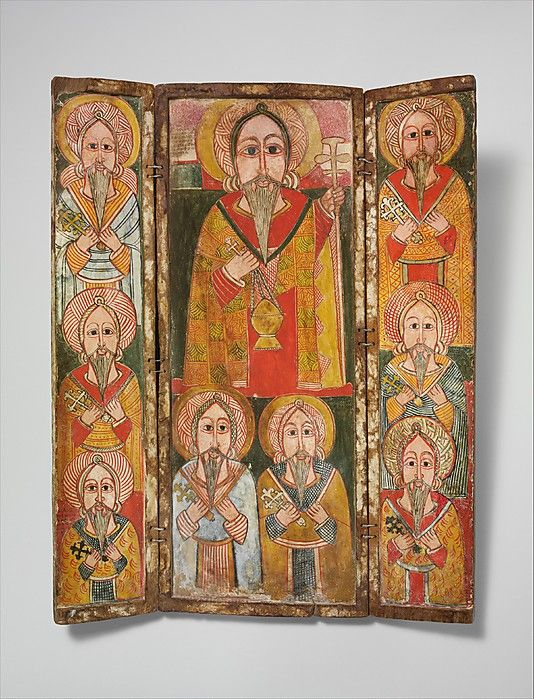 Icon Triptych: Ewost' atéwos and Eight of His Disciples  Date: late 17th century Geography: Ethiopia, North of Gojjam province Culture: Ethiopia, north of Gojjam Medium: Wood, tempera, cord Dimensions: H. 22 1/16 x W. 27 9/16 in. (56 x 70 cm) Classification: Wood-Paintings. The Metropolitan Museum of Art.