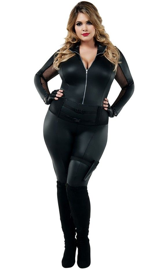 71cf52208cc Starline Secret Agent Catsuit Costume Plus Size. 4 Piece Secret Agent  Costume Plus Size includes matte wet look catsuit featuring mesh panels at  arms and ...