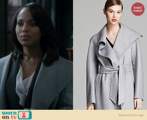 Olivia's grey shawl collar coat on Scandal. Outfit Details: http://wornontv.net/20527 #Scandal #ABC #MaxMara
