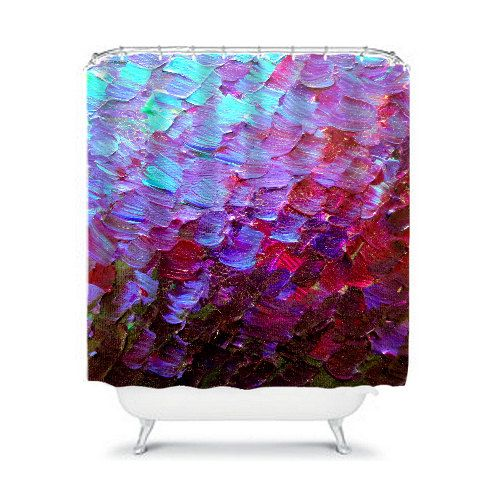 MERMAID SCALES Deep Purple Ombre Art Painting Turquoise Plum Purple Eggplant Aubergine Violet Ombre Shower Curtains by EbiEmporium, Colorful Fine Art Modern Bathroom Home Decor, Stylish Whimsical Decorative Ocean Waves #decor #showercurtain #shower #curtain #bathroom #homedecor #interiors #design #purple #orchid #ombre #abstract #chic #stylish