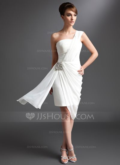 Sheath/Column One-Shoulder Asymmetrical Chiffon Cocktail Dress With Ruffle Beading (016024431)