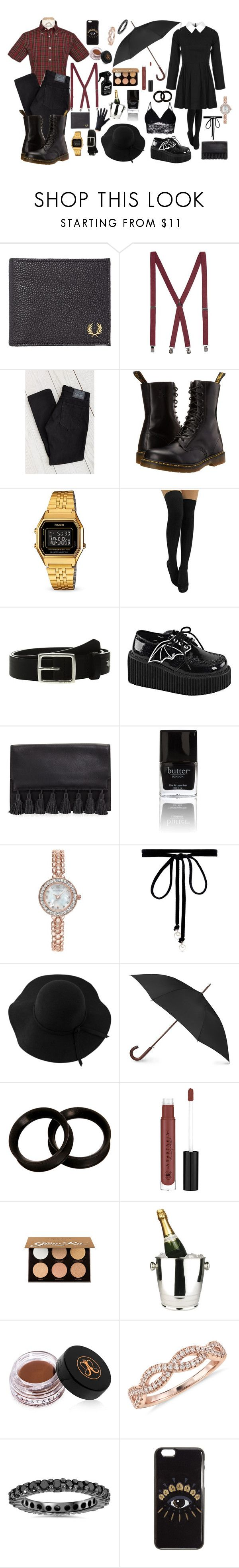 """Smart casual date"" by antonsmeeton ❤ liked on Polyvore featuring Fred Perry, Topman, Dr. Martens, Levi's, Casio, rag & bone, Demonia, Rebecca Minkoff, Butter London and Charter Club"
