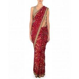 Maroon Bandhani Sari with Embroidered Border