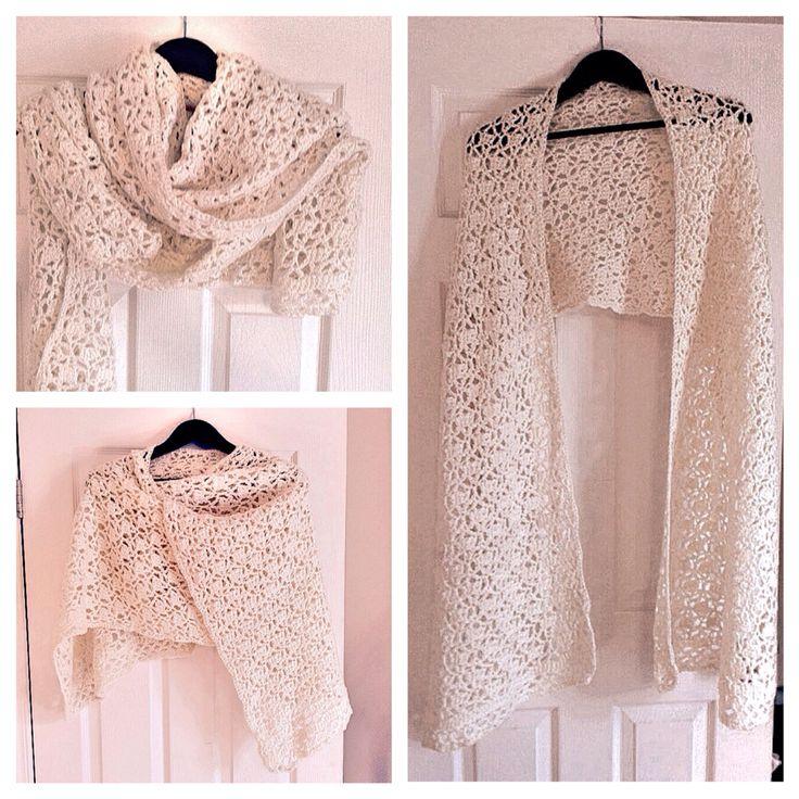 A crochet shawl/scarf using leftover wool.