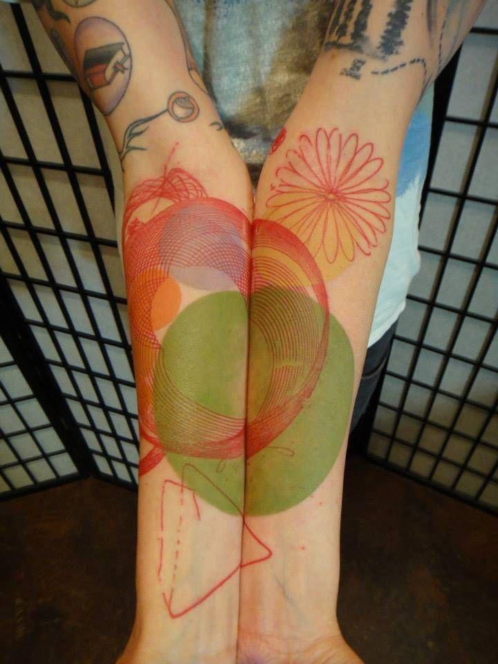Matching abstract tattoo on both inner forearm. Tattoo Artist: Xoïl · Loïc Lavenu