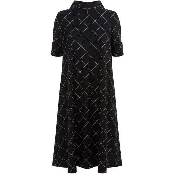 Escada Checked A-Line Dress ($965) ❤ liked on Polyvore featuring dresses, escada dresses, short dresses, check print dress, checkered dress and escada