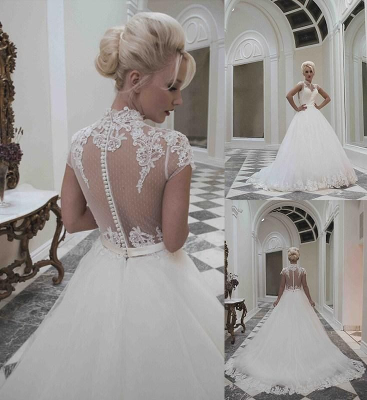 Whole A Line Wedding Dresses Custom Made 2017 High Neck Dress Cap