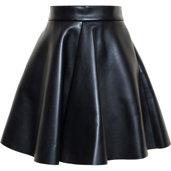 Msgm Faux Leather Skirt ($255) ❤ liked on Polyvore featuring skirts, bottoms, spódnice, black skirt, black a line skirt, pleated skirt, imitation leather skirt and knee length pleated skirt