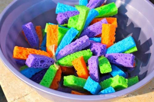 Sponge Balls in Water (instead of water balloons!) | Guess who's gonna go buy sponges and a giant bucket for band camp? :D @Lynsey Ptacek - Do you think Zach will let me? Haha
