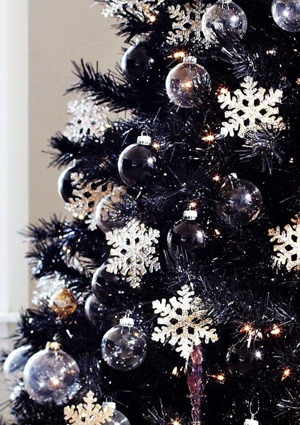 Black Christmas Tree Decorations, 2014 Black Christmas Tree Crystal Snowflake Decorations