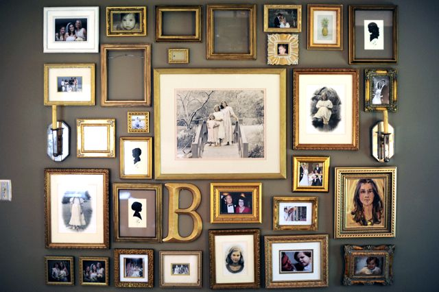 Love the idea of cheap frames, spray-painted in gold. Mixed/matched with wall sculptures