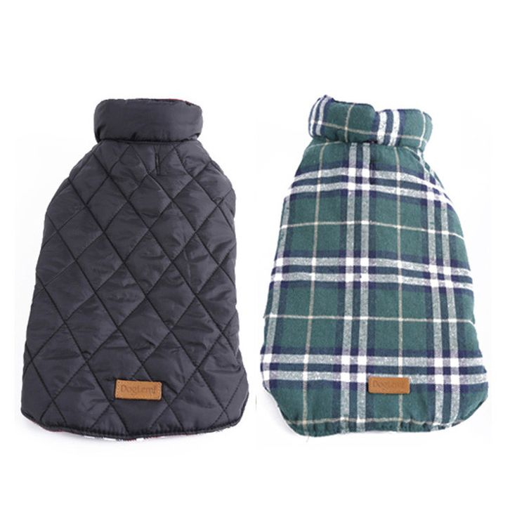 Waterproof Reversible Dog Jacket Designer Warm Plaid Winter Dog Coats Pet Clothes Elastic Small to Large Dog Clothes Winter