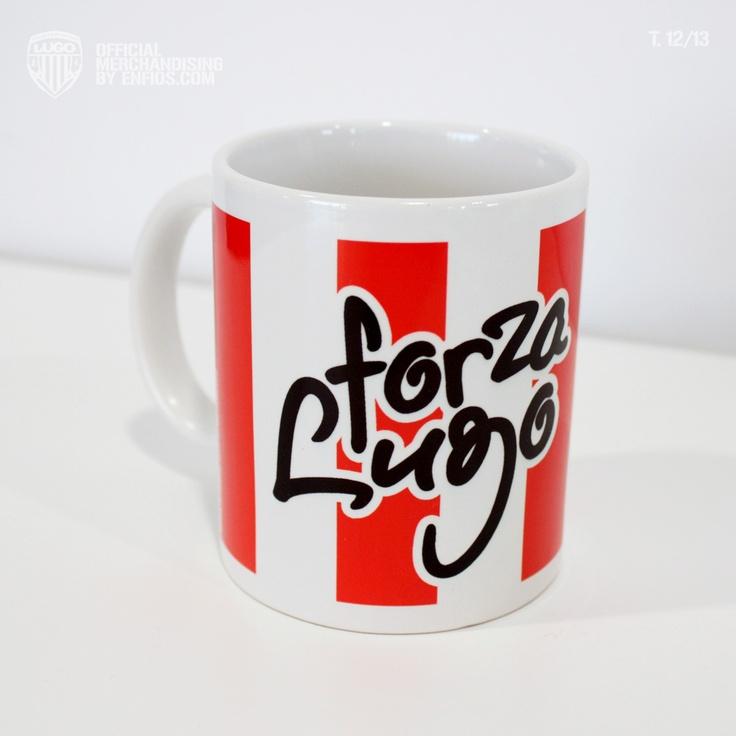 Taza Mug de Loza sublimada con los colores del Club Deportivo Lugo, el escudo y la leyenda FORZA LUGO.