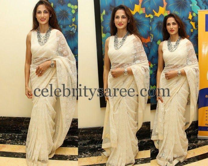 Shilpa Reddy Brasso White Saree | Saree Blouse Patterns