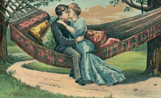Lovers Kiss - Vintage Valentine's Day Images | Public Domain | Condition Free By Nancy Oram