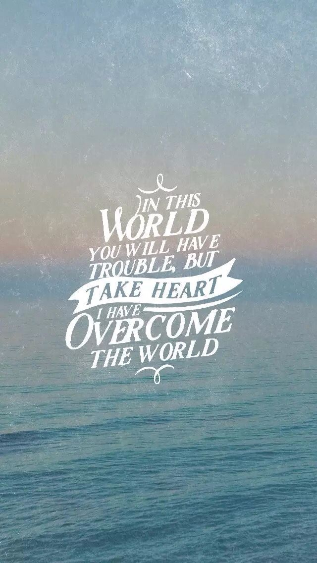 ~ In this world you will have trouble, but take heart: I have overcome the world/Quote/iPhone wallpaper