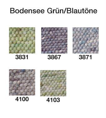 Handwebteppich Bodensee Grün/Blautöne; Exklusive, schwere Handwebteppiche aus dicht gewebter Schafschurwolle. Diese dicken, wohlig warmen Handwebteppiche passen zu jeder Wohnungseinrichtung und sind ein Blickfang! Sie werden nach alten Traditionen im Allgäu handgewebt. Die Handwebteppiche sind naturbelassen oder schonend gefärbt.