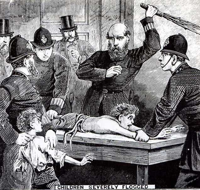 articles and pictures taken from The Illustrated Police News. Reflects the tastes of the period. The Illustrated Police News, covering all the most shocking crimes and curious cases of the day. Children severely flogged Two ragged and helpless urchins, named John Levitt and Frank Rafferty. aged eleven and nine years respectively, were brought up in custody charged with stealing two pigeons, the property of Mr. John Rhodes of Knottingley, Yorkshire, England on the previous Thursday.