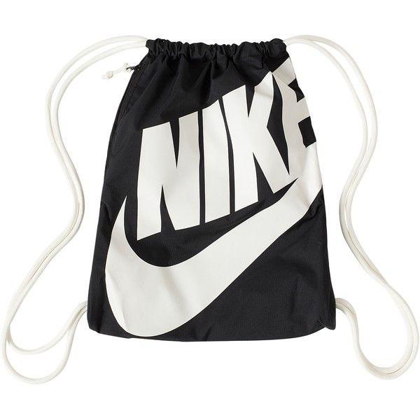 Nike Heritage Gymsack ($31) ❤ liked on Polyvore featuring bags, handbags, accessories, nike, black, womens-fashion, black bag, black purse, drawstring handbags and drawstring purse