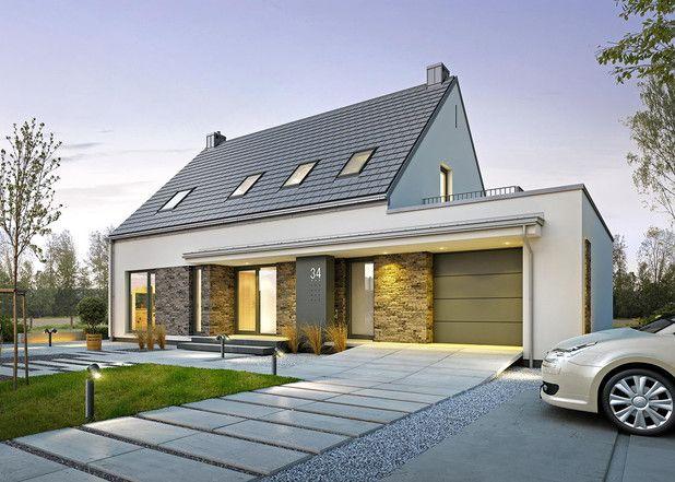 Bryła budynku nawiązuje do najbardziej klasycznej formy domu jednorodzinnego - parterowego obiektu z poddaszem użytkowym oraz ze stromym, symetrycznym dachem dwuspadowym. W tym przypadku jednak tradycyjnej bryle nadano nowoczesny charakter.