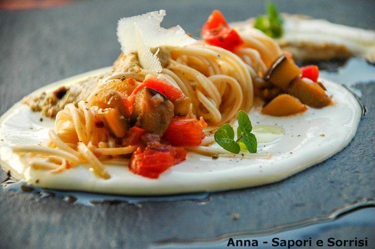 ANNA-SAPORI E SORRISI: Spaghettini con crema di burrata , melanzane e pomodorini
