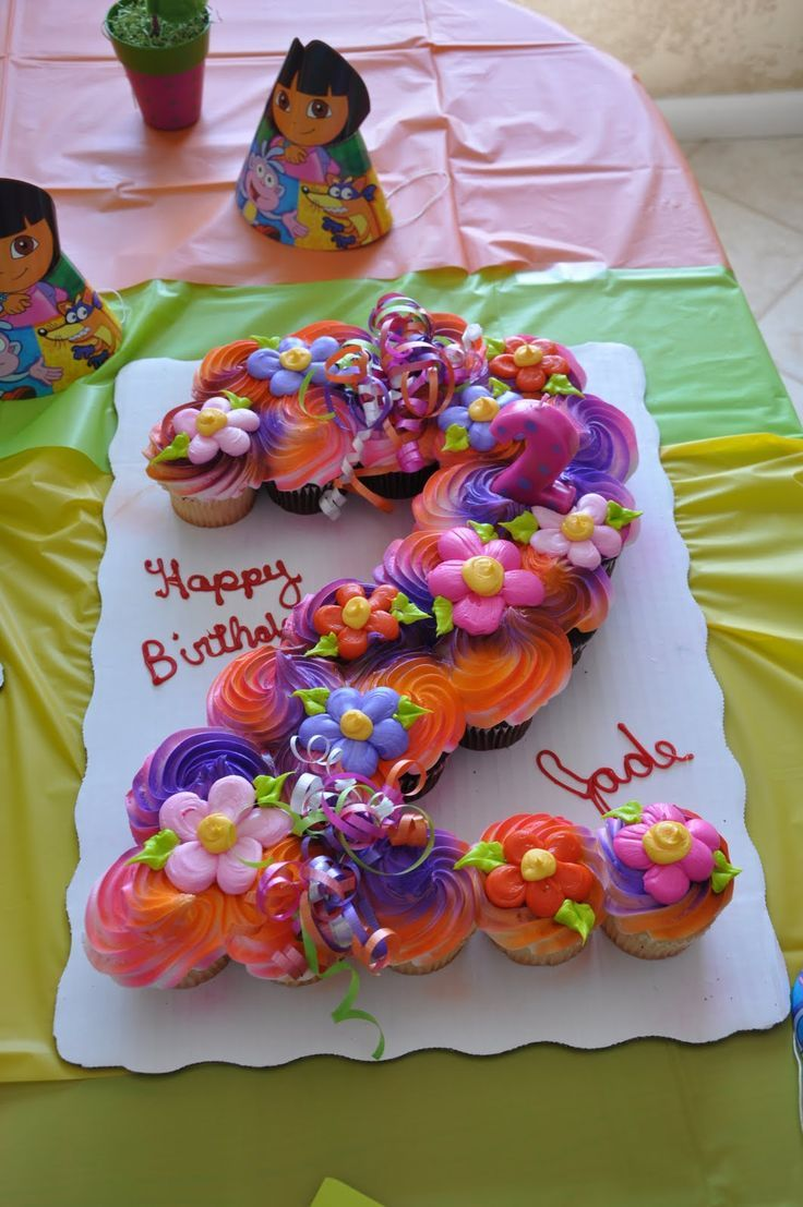 Adorable cupcake display for a Dora the Explorer birthday party! Line up the cupcakes in the shape you want, then frost away.