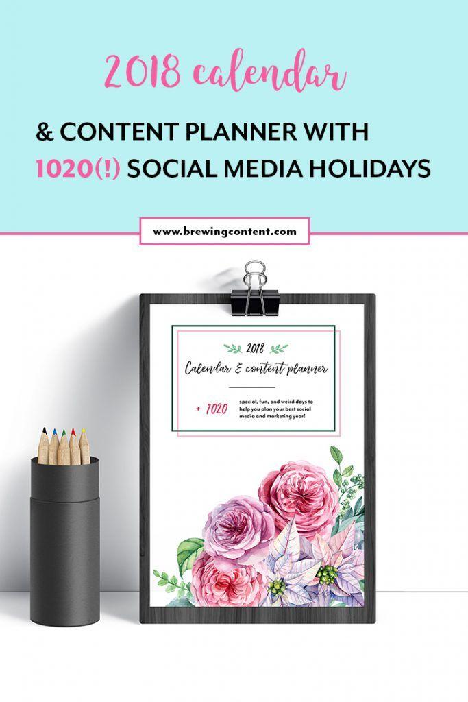 2018 Social Media Holiday Calender & Content planner