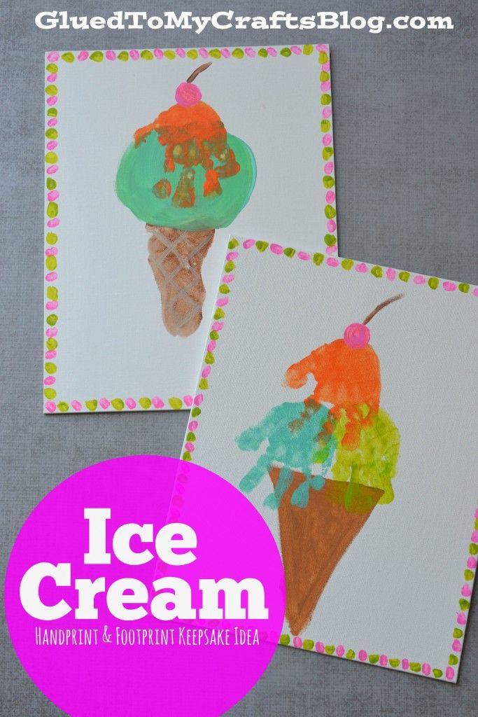 Ice Cream Handprint Footprint Keepsake Idea Summer Kid CraftsSummer