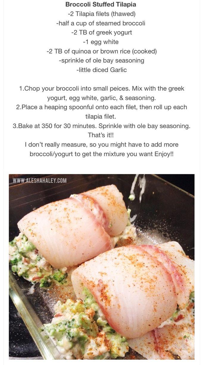 Broccoli stuffed tilapia