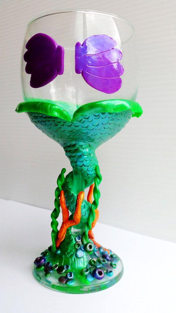Disney The Little Mermaid Wine Glass Ariel Tea by PrettyInBloomKA